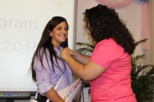 Medical Assistant student recieves a pin