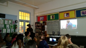 Briya students watching the film festival in class