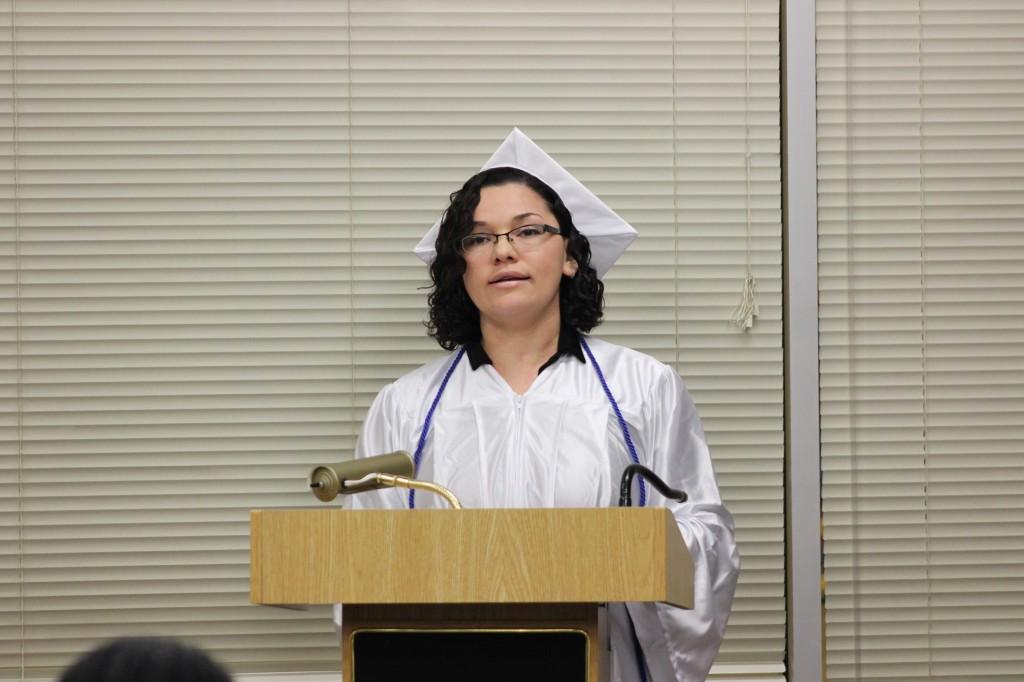 Wendy Evora giving her graduation speech