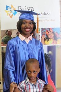 Awa Traore, 2016 graduate, with her son